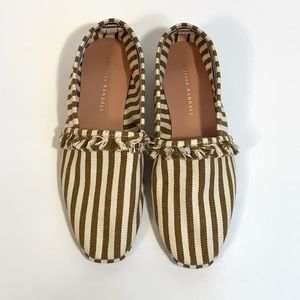 NWOB Loeffler Randall Striped Canvas Slip On Shoes